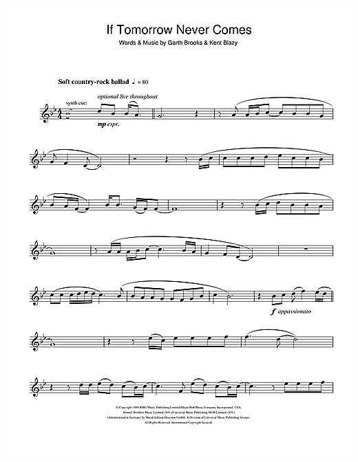 If Tomorrow Never Comes Sheet Music