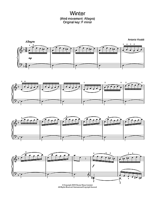 Partition piano Winter from The Four Seasons (Third movement de Antonio Vivaldi - Piano Solo