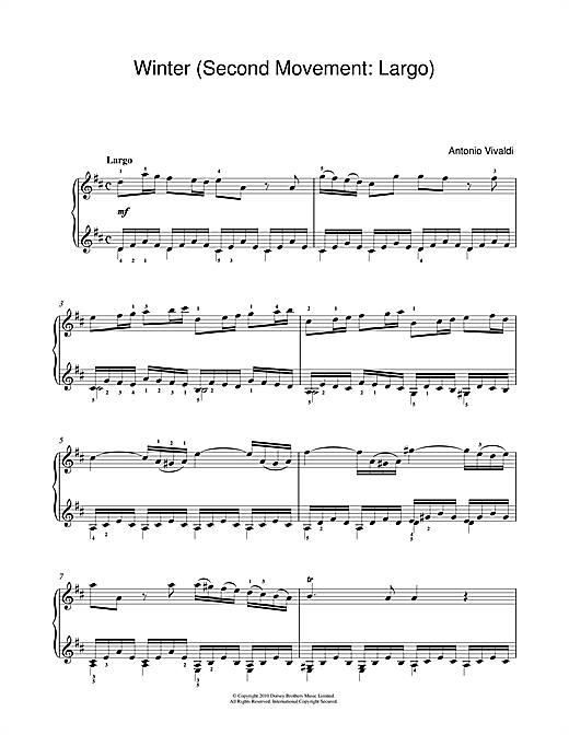 Winter from The Four Seasons (Second movement: Largo) Sheet Music