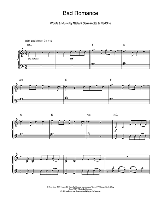 Bad Romance Sheet Music