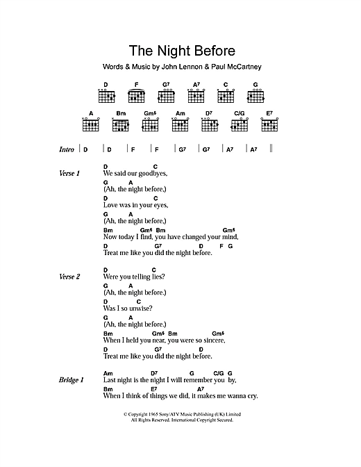 The Night Before (Guitar Chords/Lyrics)