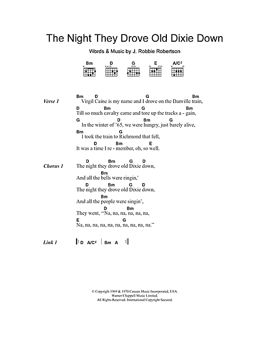 The Night They Drove Old Dixie Down Sheet Music