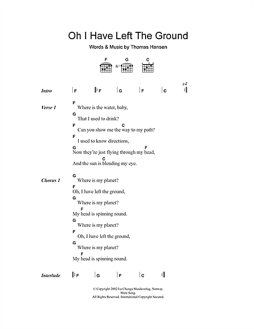Oh I Have Left The Ground (Guitar Chords/Lyrics)