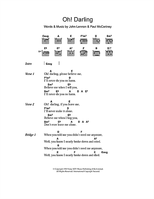 Oh! Darling sheet music by The Beatles (Lyrics & Chords – 106270)