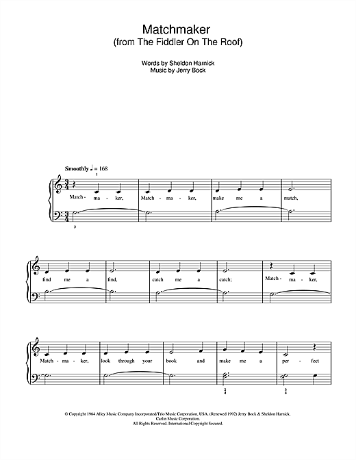 Matchmaker (from The Fiddler On The Roof) Sheet Music