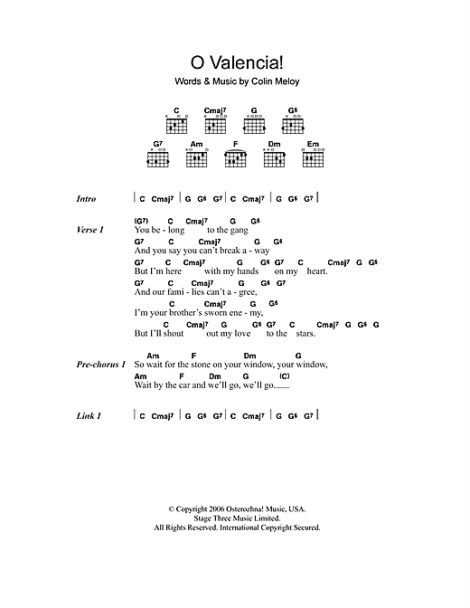O Valencia! (Guitar Chords/Lyrics)