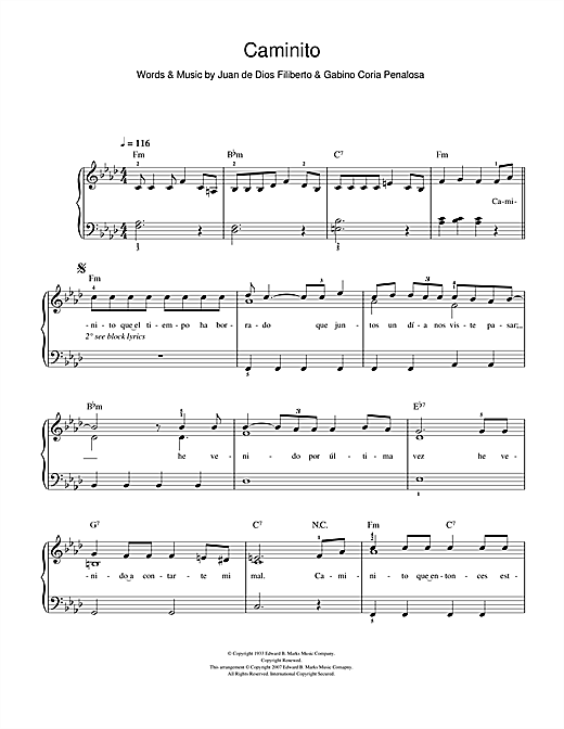 Caminito (The Little Lane) Sheet Music
