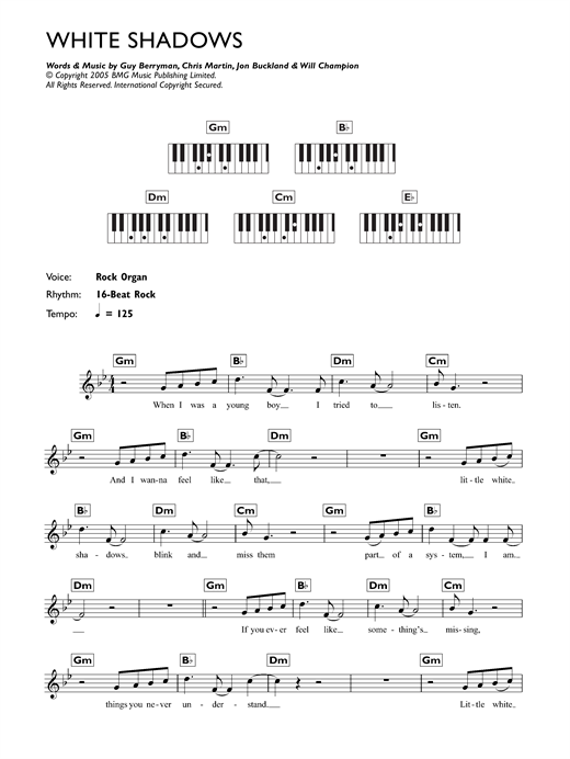 White Shadows Sheet Music