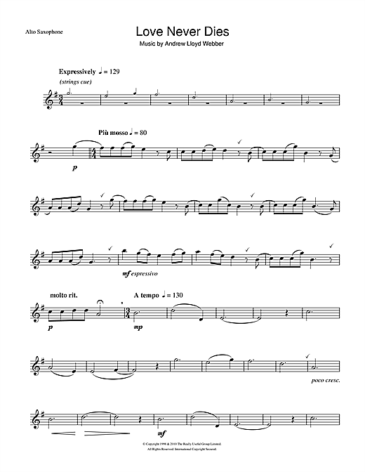Love Never Dies Sheet Music