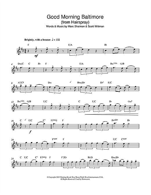Good Morning Baltimore (from Hairspray) Sheet Music