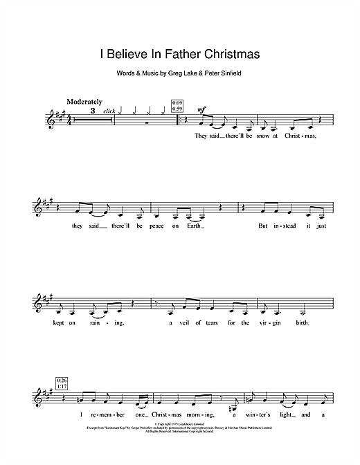 I Believe In Father Christmas Sheet Music