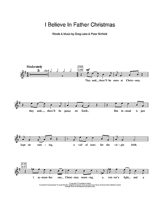 Partition flûte I Believe In Father Christmas de Greg Lake - Flute traversiere
