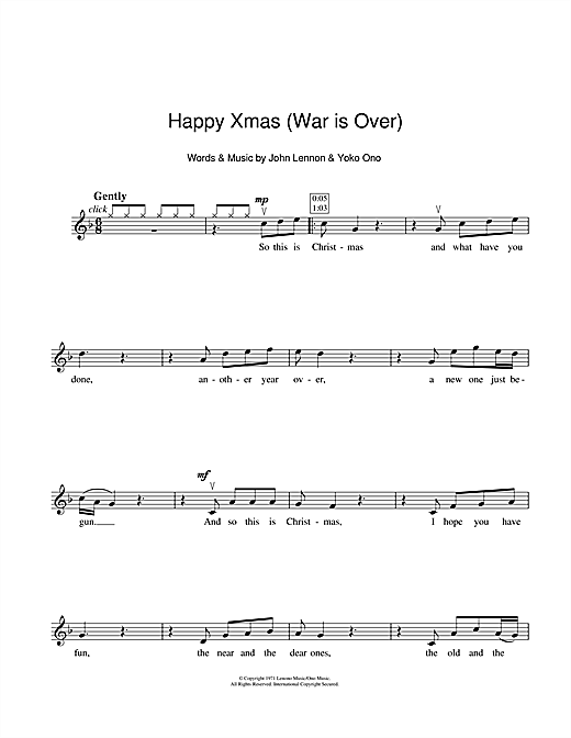 Partition autre Happy Xmas (War Is Over) de John Lennon - Violon