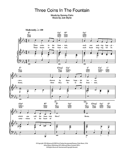 Three Coins In The Fountain (Piano, Vocal & Guitar (Right-Hand Melody))