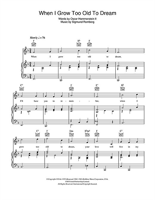 When I Grow Too Old To Dream Sheet Music
