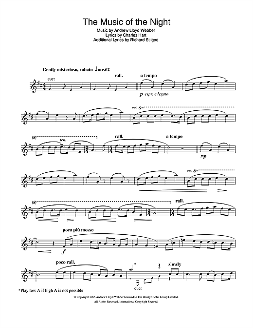 The Music Of The Night (from The Phantom Of The Opera) Sheet Music