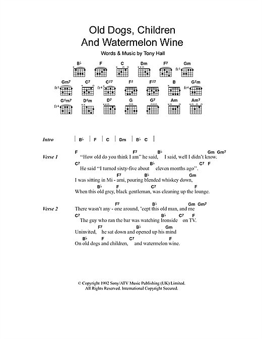 Old Dogs, Children And Watermelon Wine (Guitar Chords/Lyrics)