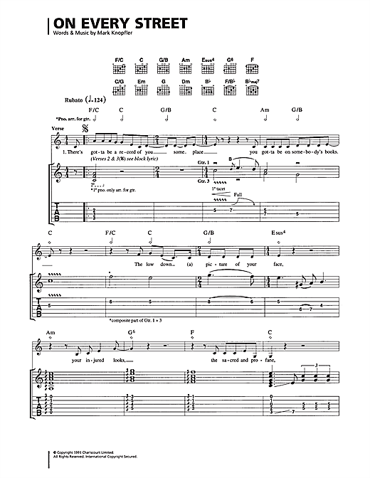 On Every Street (Guitar Tab)