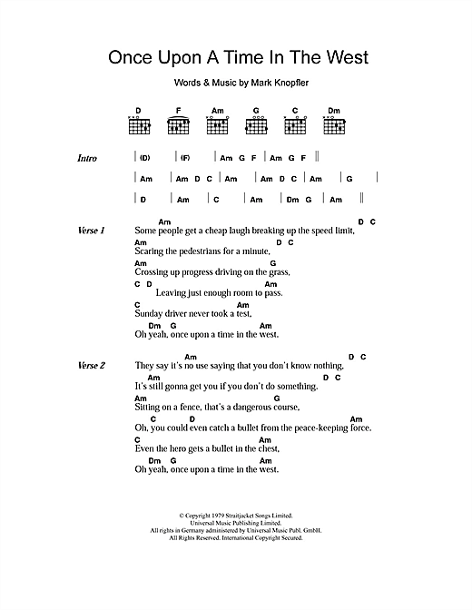 Once Upon A Time In The West (Guitar Chords/Lyrics)
