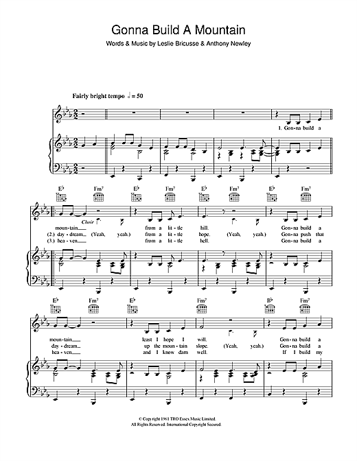 Gonna Build A Mountain (Piano, Vocal & Guitar (Right-Hand Melody))