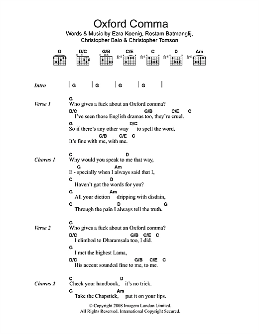 Oxford Comma (Guitar Chords/Lyrics)