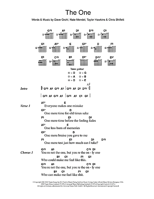 The One (Guitar Chords/Lyrics)