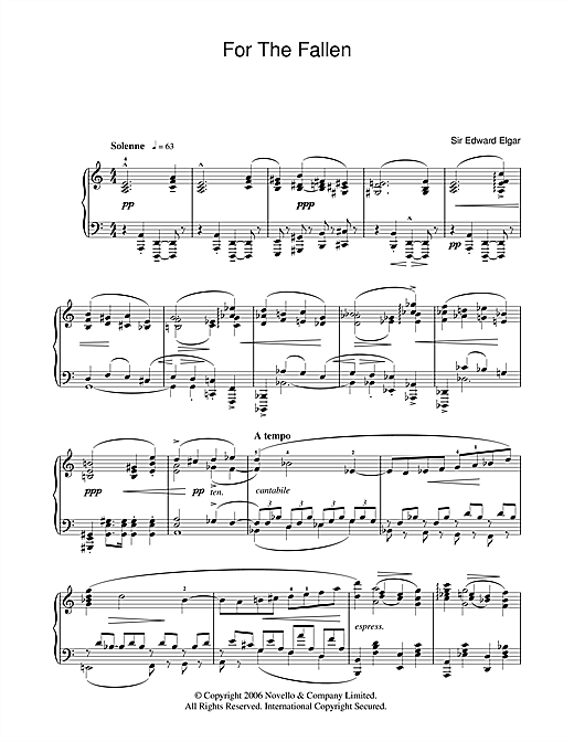 For The Fallen from The Spirit Of England Op. 80 (Piano Solo)