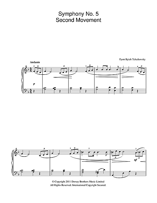 Symphony No.5 (2nd Movement: Andante) Sheet Music