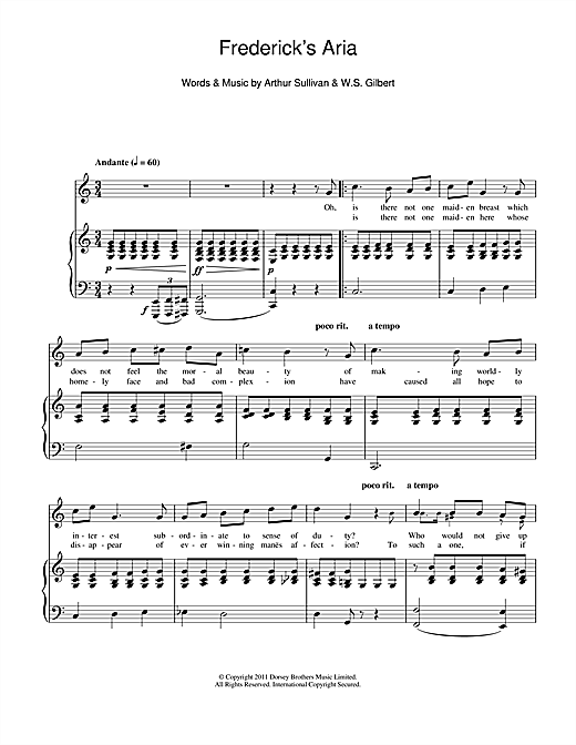 Frederick's Aria Sheet Music
