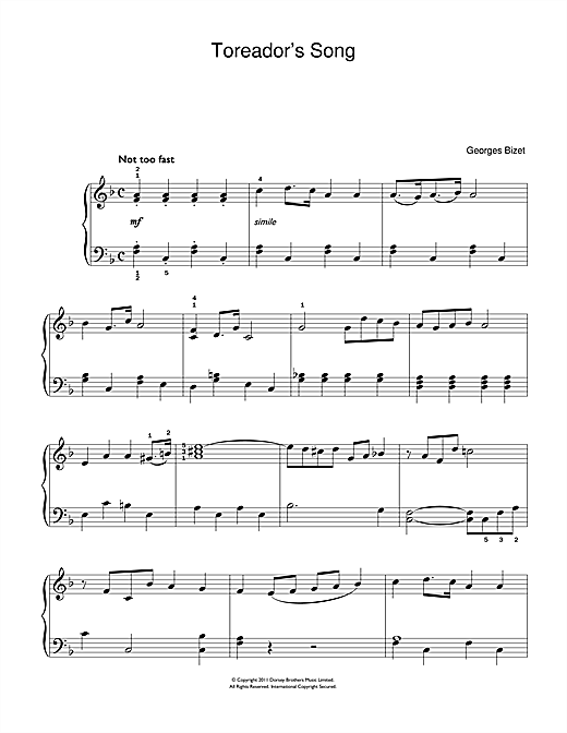 Toreador's Song (from Carmen) (Beginner Piano)