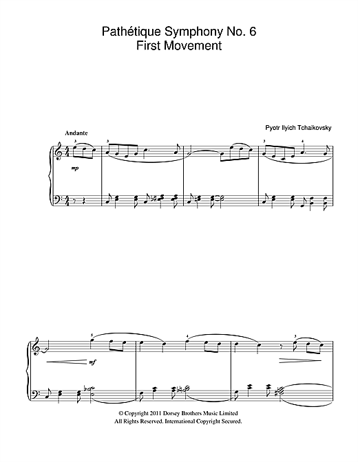 Partition piano Pathetique (from The 6th Symphony) de Pyotr Ilyich Tchaikovsky - Autre
