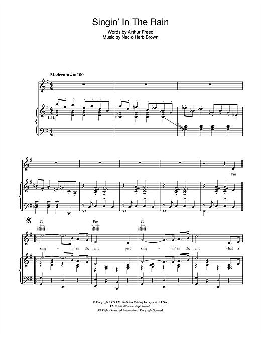 Singin' In The Rain (Piano, Vocal & Guitar (Right-Hand Melody))
