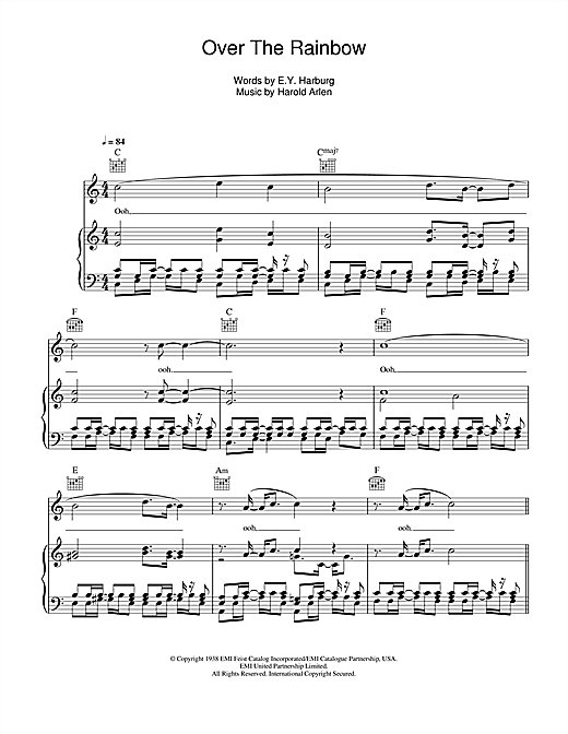 Over The Rainbow sheet music by Glee Cast (Piano, Vocal & Guitar ...
