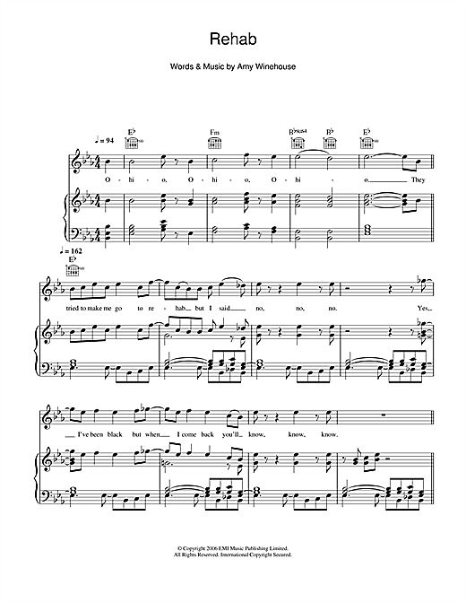 Rehab Sheet Music