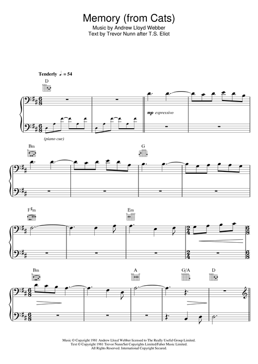 Partition piano Memory (from Cats) de Andrew Lloyd Webber - Piano Facile