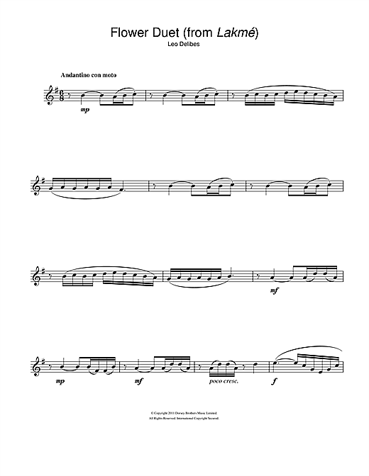 Flower Duet (from Lakme) (Flute Solo)