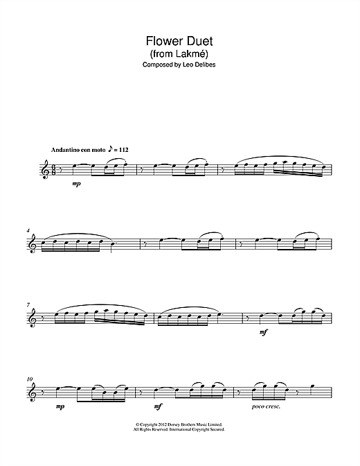 Flower Duet (from Lakme) Sheet Music