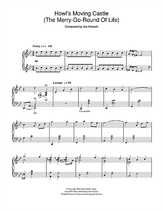 Howl's Moving Castle (The Merry-Go-Round Of Life) Sheet Music