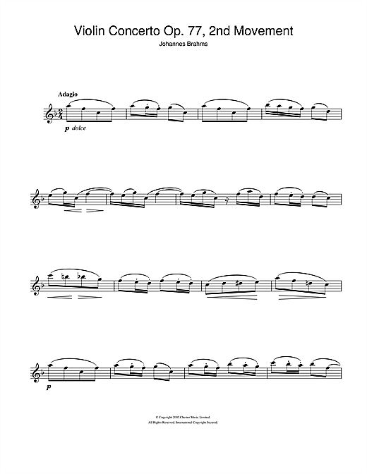 Violin Concerto (2nd Movement) Sheet Music