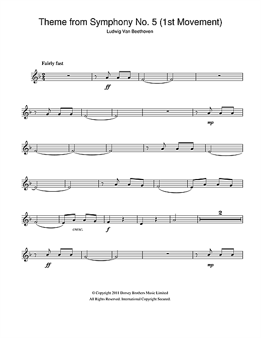 Theme from Symphony No. 5, Op. 67 (1st Movement) (Clarinet Solo)