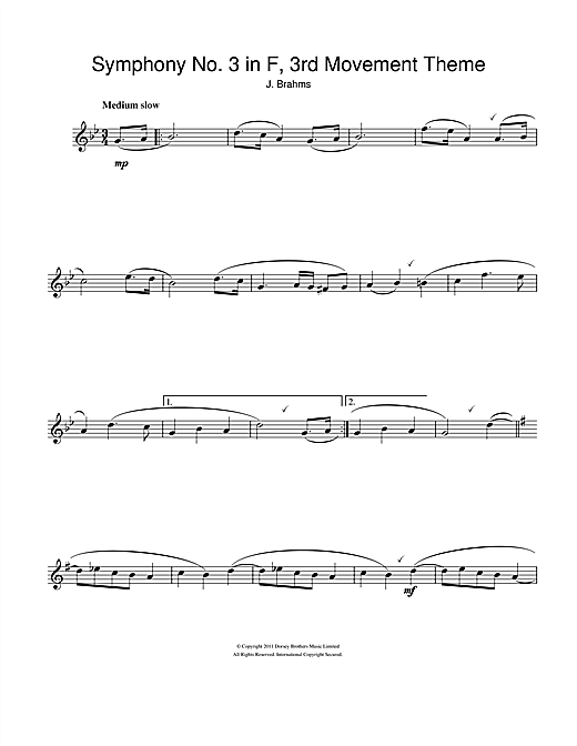 Symphony No. 3 In F Major (3rd movement) Sheet Music