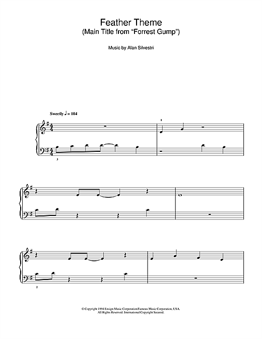 Partition piano Feather Theme (Main Title from 'Forrest Gump') de Alan Silvestri - Autre