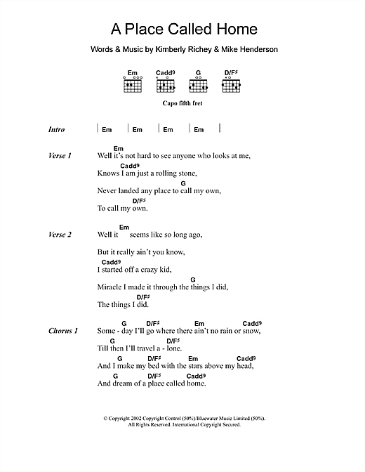 A Place Called Home (Guitar Chords/Lyrics)