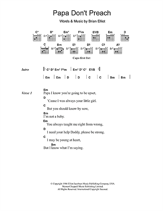 Papa Don't Preach (Guitar Chords/Lyrics)