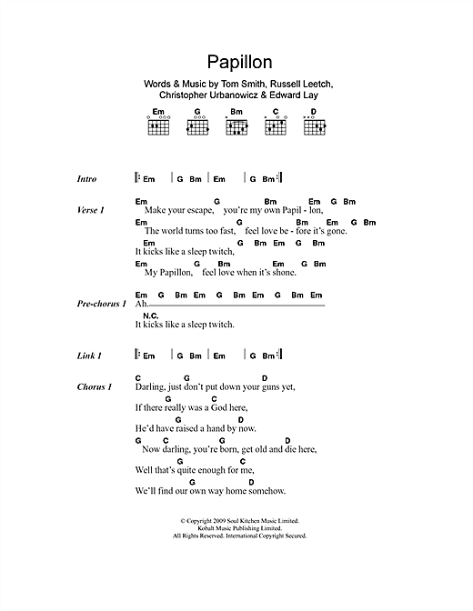 Papillon (Guitar Chords/Lyrics)