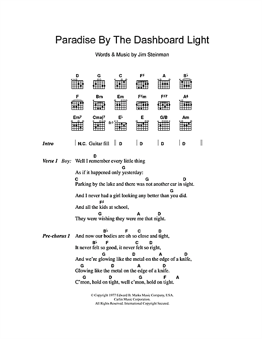 Paradise By The Dashboard Light Sheet Music