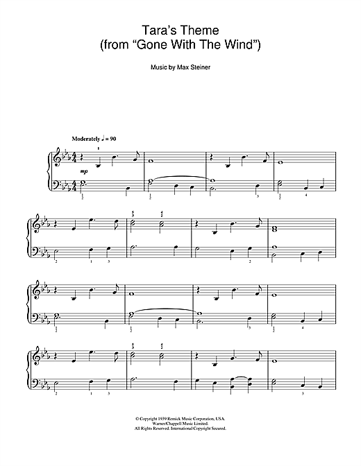 Tara Theme (from 'Gone With The Wind') Sheet Music