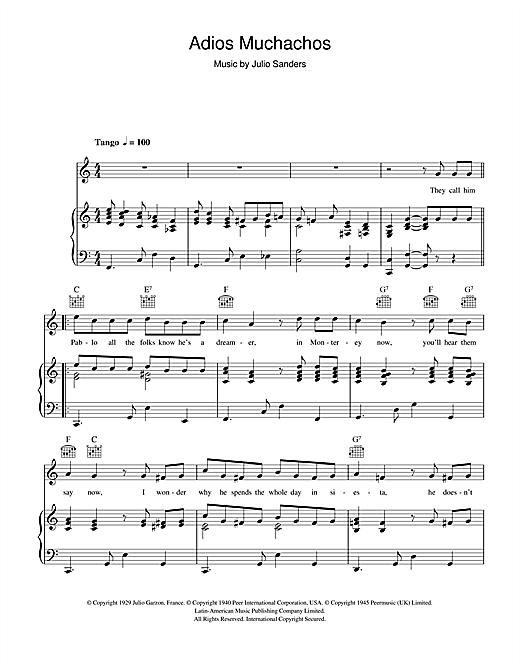 Pablo The Dreamer (Adios Muchachos) Sheet Music