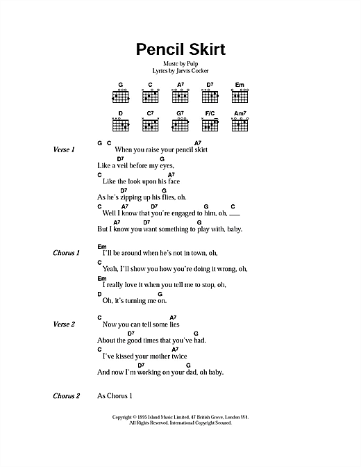 Pencil Skirt (Guitar Chords/Lyrics)