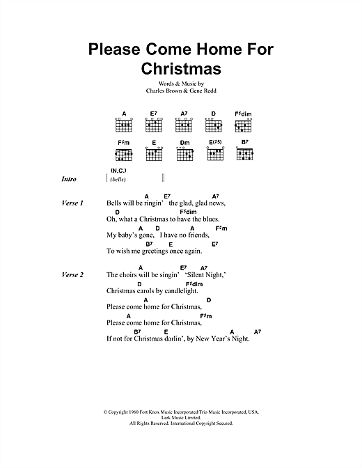 Please Come Home For Christmas (Guitar Chords/Lyrics)